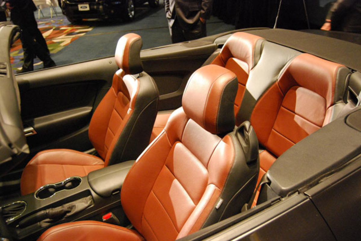The two-tone interior looks pretty comfy—for crash dummies.