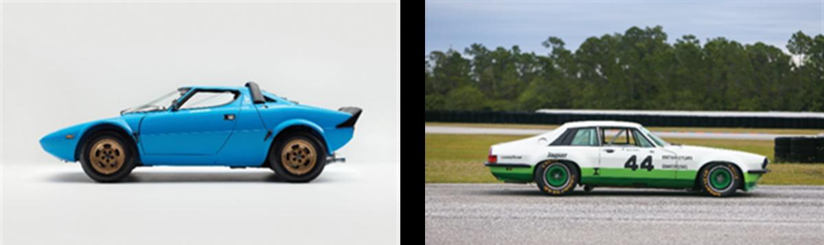 LEFT; 1975 Lancia Stratos HF Stradale by Bertone(Credit - Juan Rivas ©2020 Courtesy of RM Sotheby's)RIGHT: 1978 Jaguar XJS Group 44 Trans-Am(Credit - Ryan Merrill ©2020 Courtesy of RM Sotheby's)