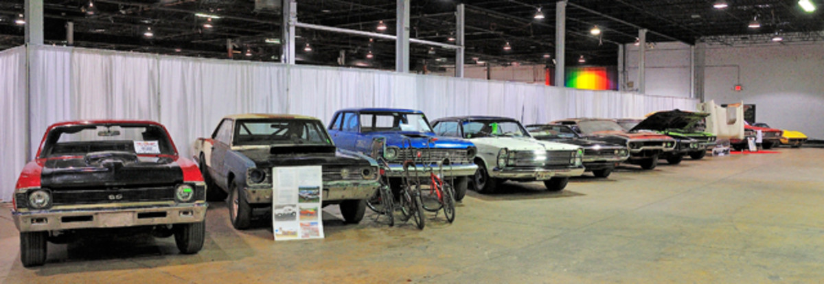 "Barn find display. New to the Muscle Car and Corvette Nationals for 2012 was this awesome gathering of true ""Barn Finds""."