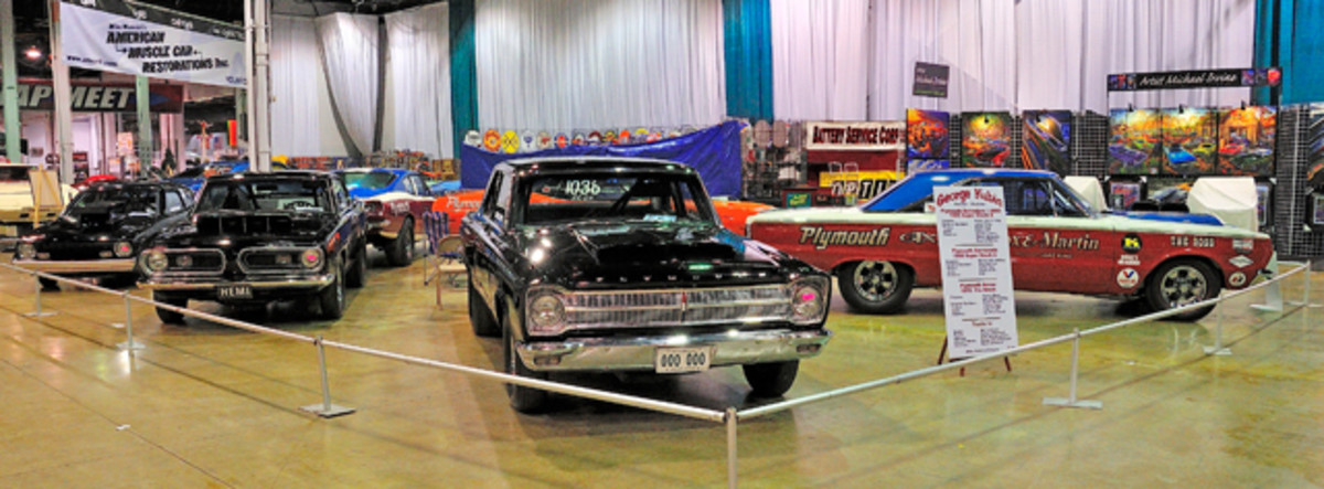 A display of original Sox and Martin Mopar race cars.