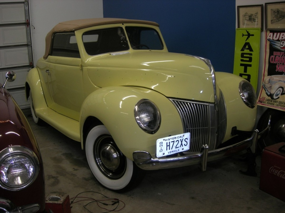 Missing some hood trim, this partially restored 1939 Ford Deluxe convertible coupe, 1 of 10,422 built, sports attractive upswept bumper ends. The car is for sale.