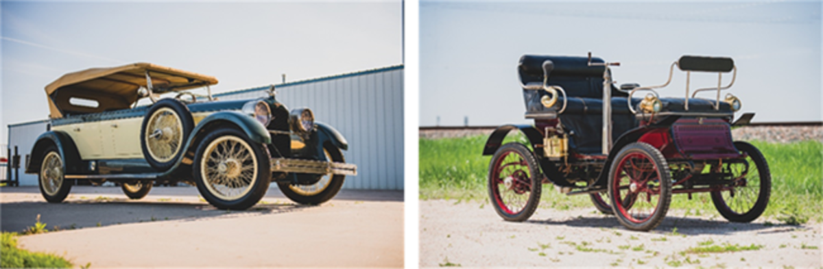 LEFT: 1925 Duesenberg Model A Touring (Darin Schnabel © 2019 Courtesy of RM Auctions)RIGHT: 1900 De Dion-Bouton Series E Vis-à-Vis(Darin Schnabel © 2019 Courtesy of RM Auctions)