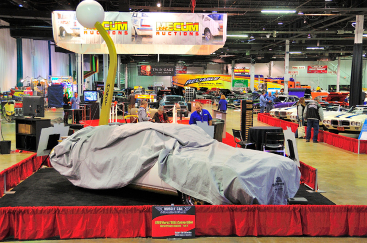 1969 Hurst/Olds Convertible under wraps prior to the unveiling at the 2012 Muscle Car and Corvette Nationals.