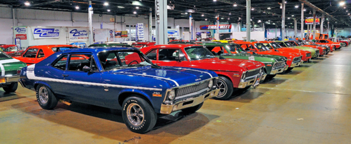 "The ""Meet the Mean Ones"" Yenko diplay. With 61 Yenko models, this gathering of rare GM Muscle Cars was a star attraction. This angle shows the Yenko Novas on display."