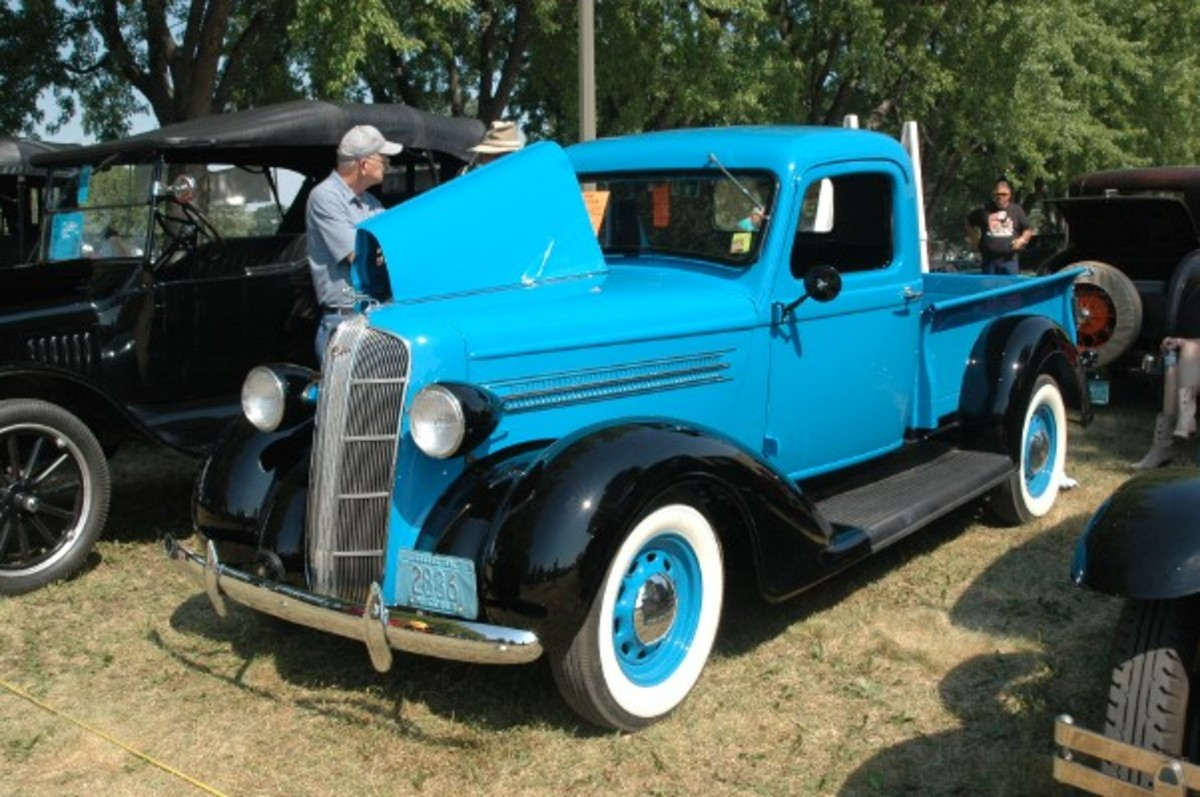 Evan and Marcia Wollschlager brought this 1936 Dodge Brothers 1/2-ton pickup, which wore eye-catching blue paint on its body and box set against black fenders and running boards.