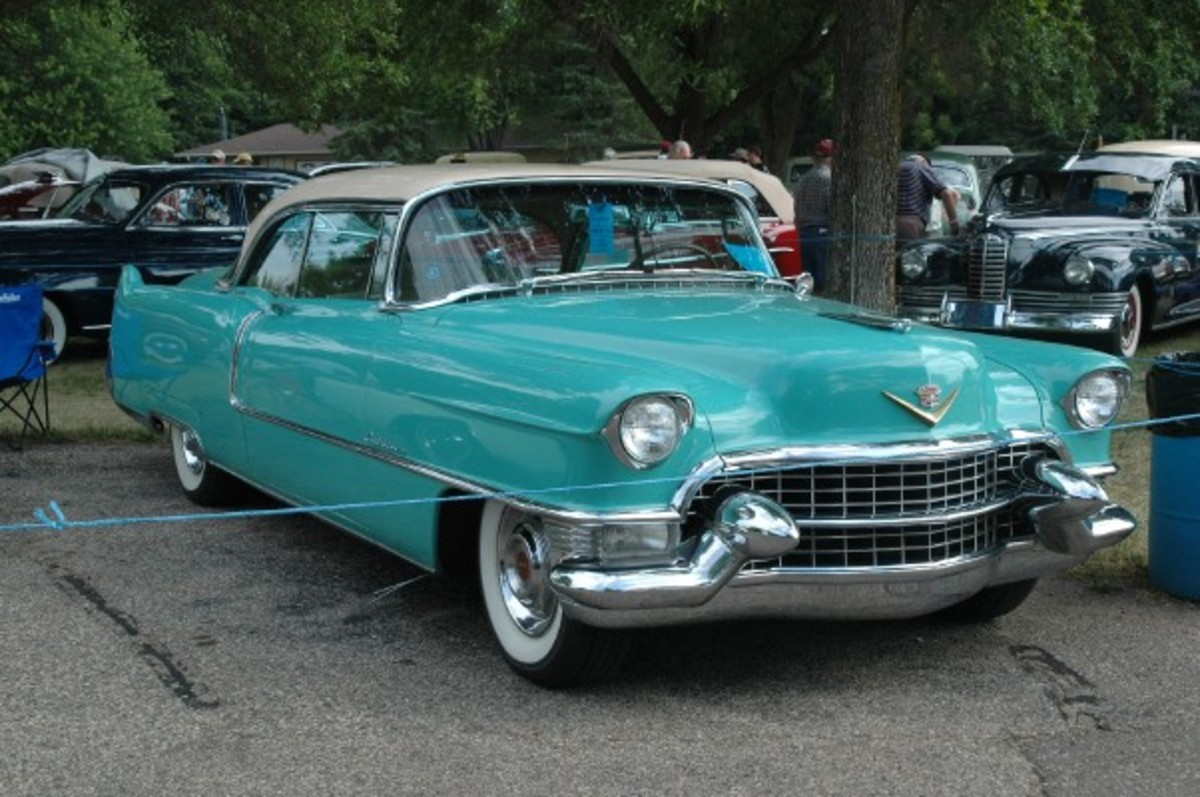 Jon Cody's Wedgewood Green 1955 Cadillac Coupe deVille is an unrestored and low-mileage California car and also features special-order all-leather upholstery. The Blue Ribbon Concours is made up of such originals and also finely restored vehicles.