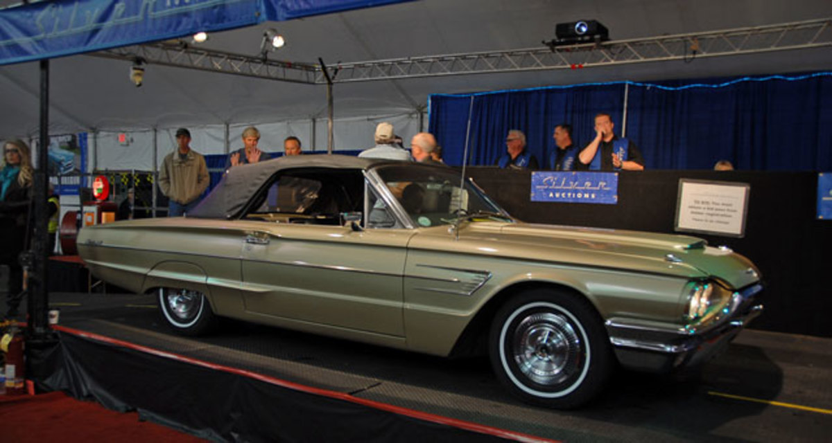 While there were several 1964 through 1966 Ford Thunderbirds to choose from, this 1965 was the only convertible consigned at Silver, selling for $15,750.