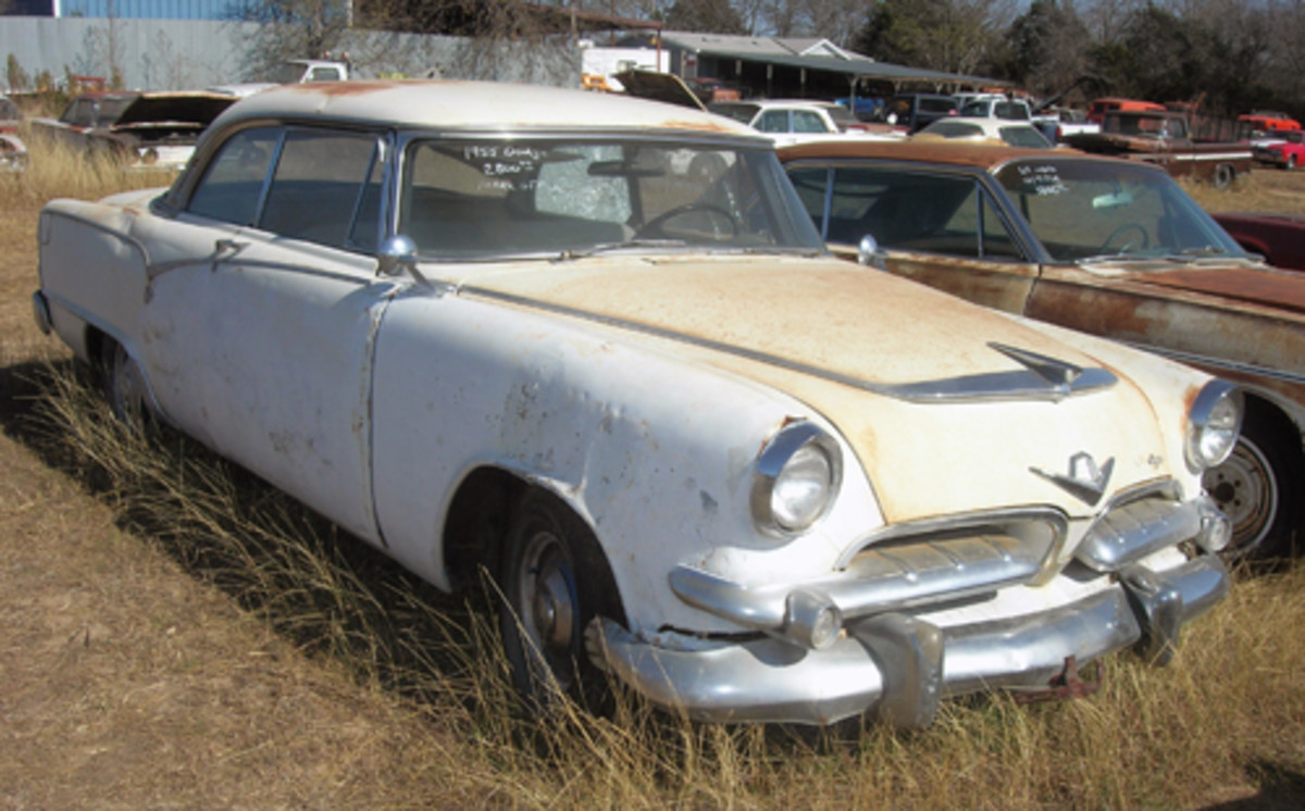 Another car for sale out front, this cosmetically challenged 1955 Dodge Royal hardtop, equipped with a V-8 engine, can be had for $2,800.