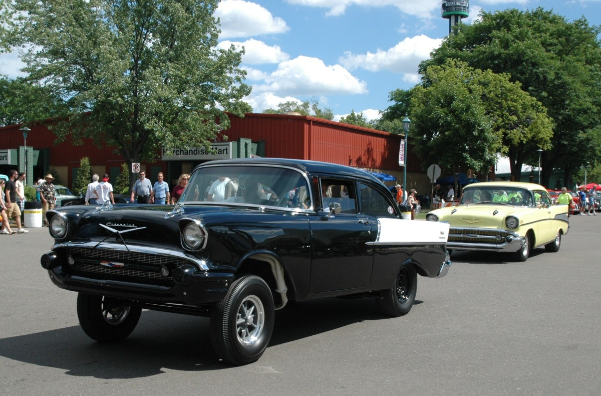 """Mild or wild, take your pick. The gasser '57 Chevrolet One-Fifty """"Black Widow"""" clone packed a loud bark and a mouse motor."""