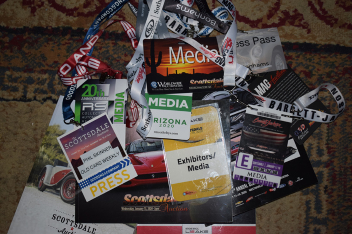 Scottsdale Bling, media passes and catalogs from eight auctions represent 10 long days of chasing collector cars in Scottsdale Arizona.