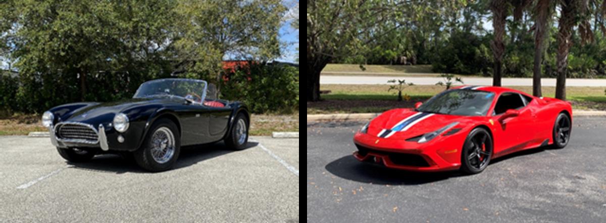 LEFT: 1963 Shelby 289 Cobra (Courtesy of RM Sotheby's) RIGHT: 2015 Ferrari 458 Speciale (Courtesy of RM Sotheby's)