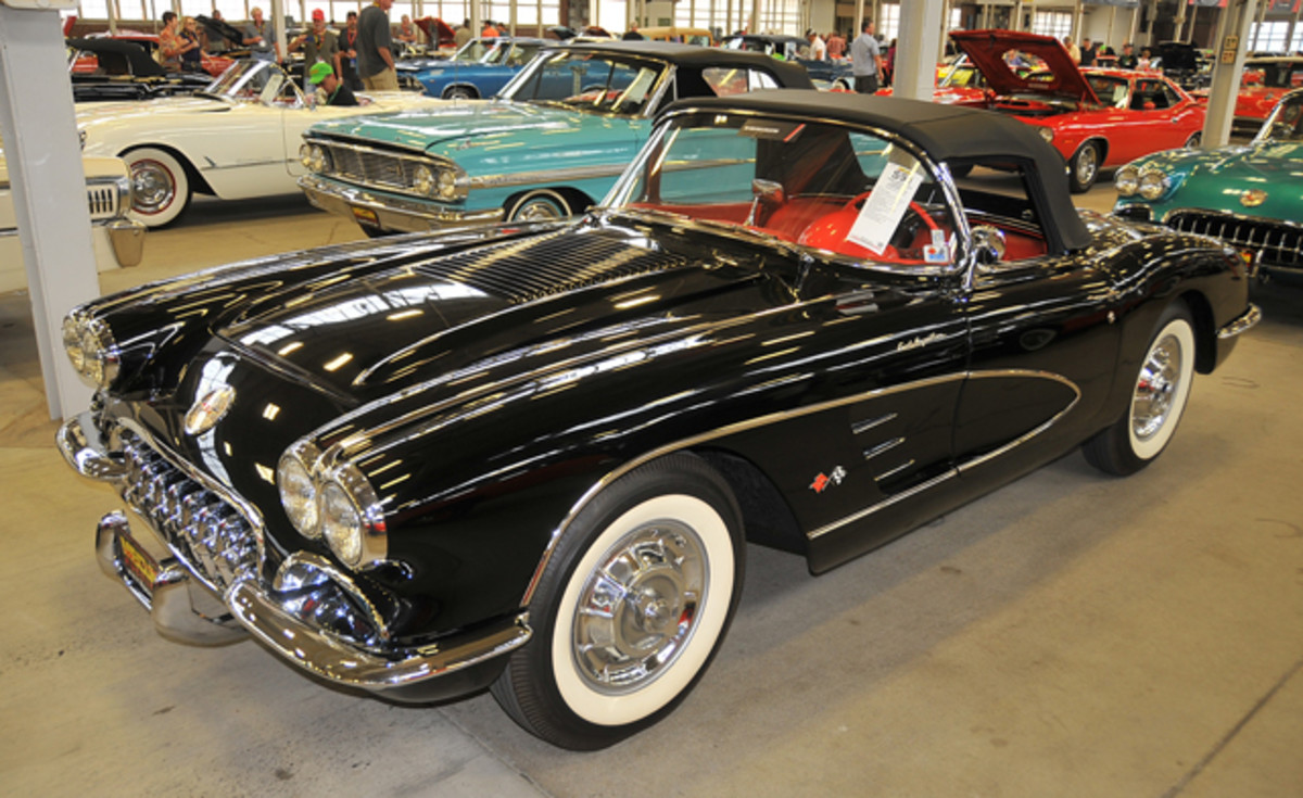 Tuxedo Black was offered late in the 1958 Corvette model year. This Tuxedo Black version sold for $150,000.
