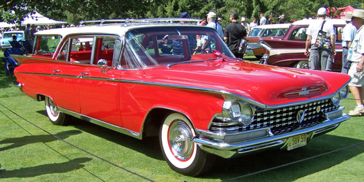 "Two finned Buick station wagons graced the Jet-Age Station Wagon class, including OCW reader Joseph Carfagna's 1959 LeSabre finished in its original red-and-white paint scheme. Carfagna said his wagon was in very solid but tough shape when purchased, but his family now enjoys the amount of effort that went into reviving the ""Delta Wing""-styled machine. Although the entry-level Buick station wagon for 1959, this LeSabre was well-equipped with air conditioning, power windows, roof rack, tinted glass and power antenna."