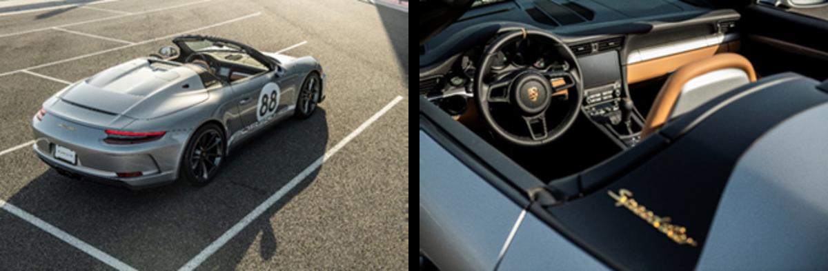 LEFT: Porsche 911 Speedster, rear (Credit - Courtesy of Porsche Cars North America) RIGHT: Porsche 911 Speedster, interior (Credit - Courtesy of Porsche Cars North America)