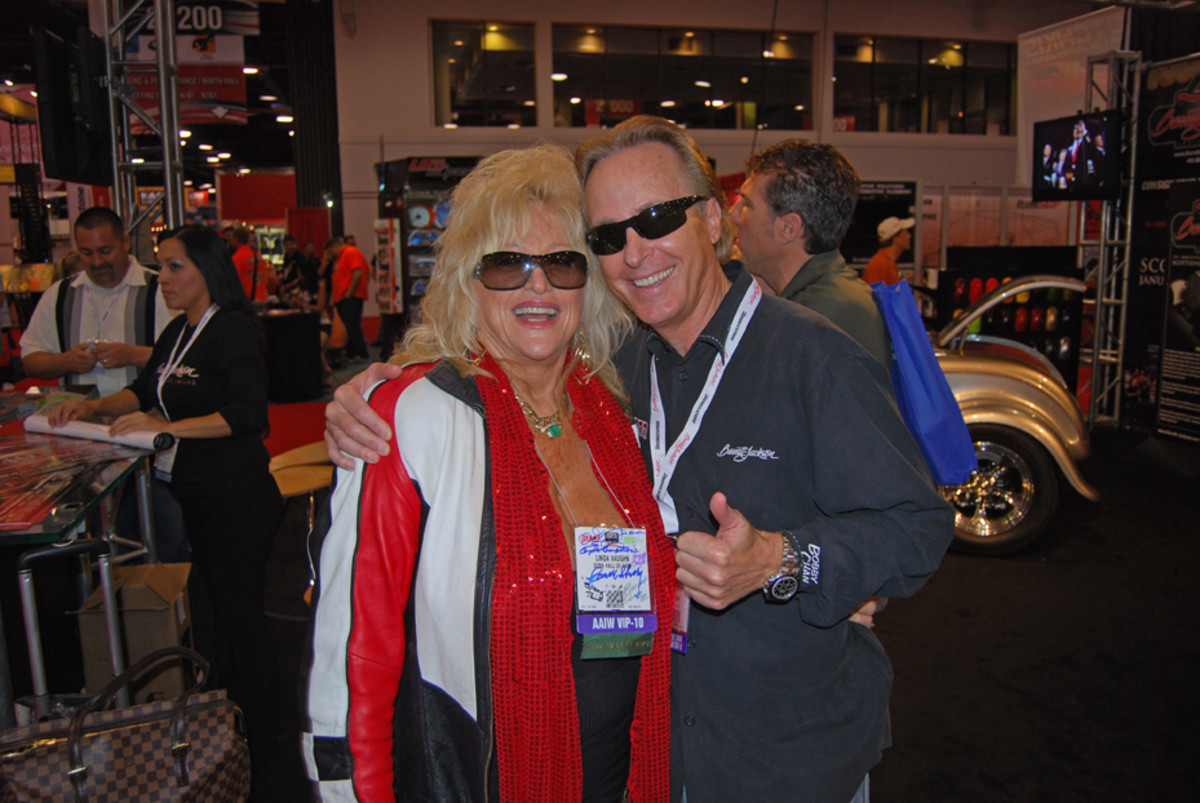Linda Vaughn with Steve Davis of the Barrett-Jackson auction company. (John Gunnell photo)