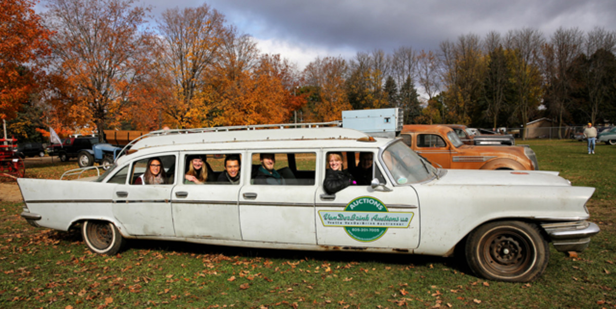 A 1957 Chrysler Airport Limo owned by Yvette VanDerBrink.