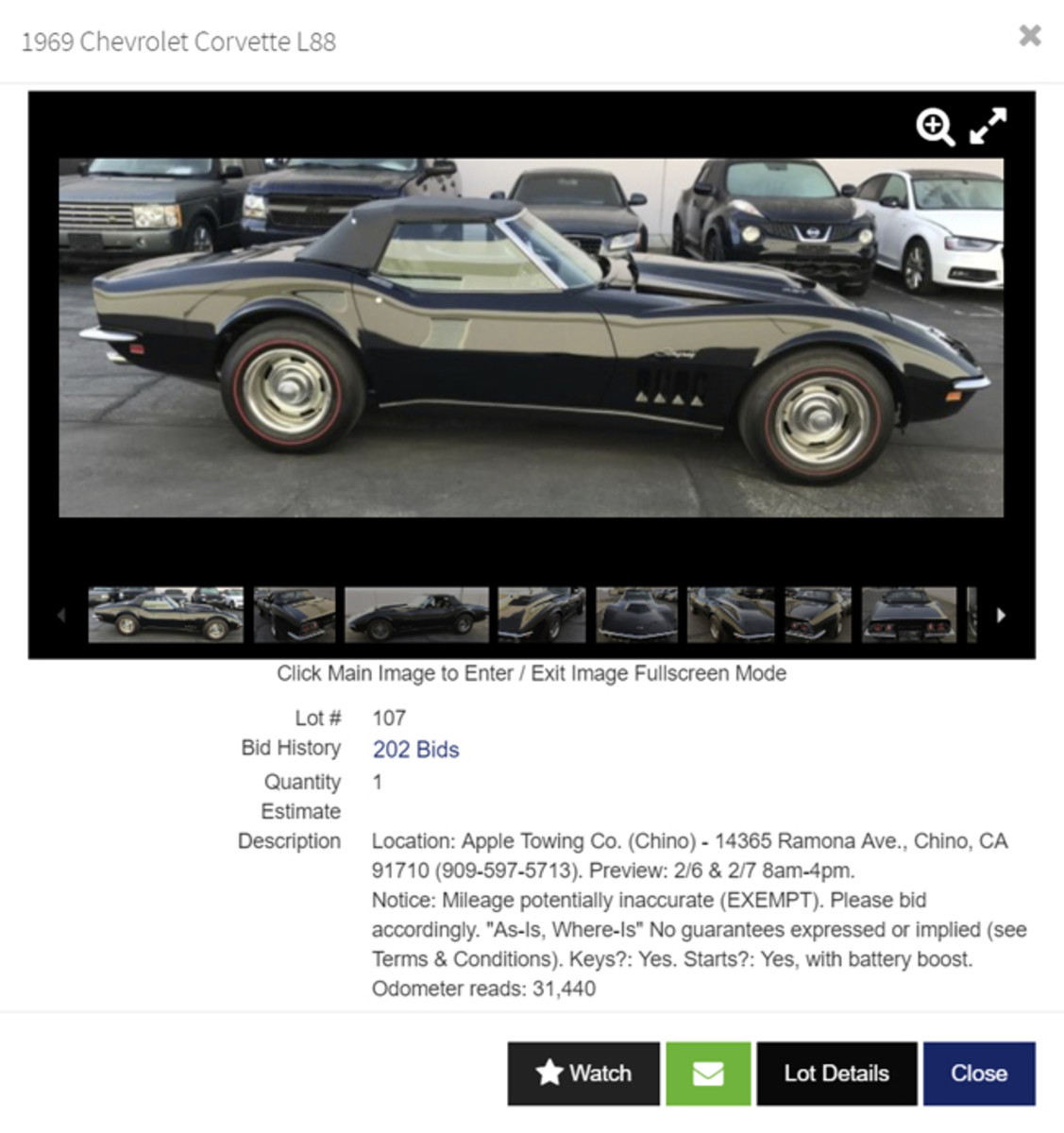 This vintage 1969 Chevrolet Corvette L88 was a treasure we discovered in the Collector / Antique Autos category on HiBid.com. At the time this screenshot was taken, the car had been bid up beyond $230,000 with nearly a week to go.