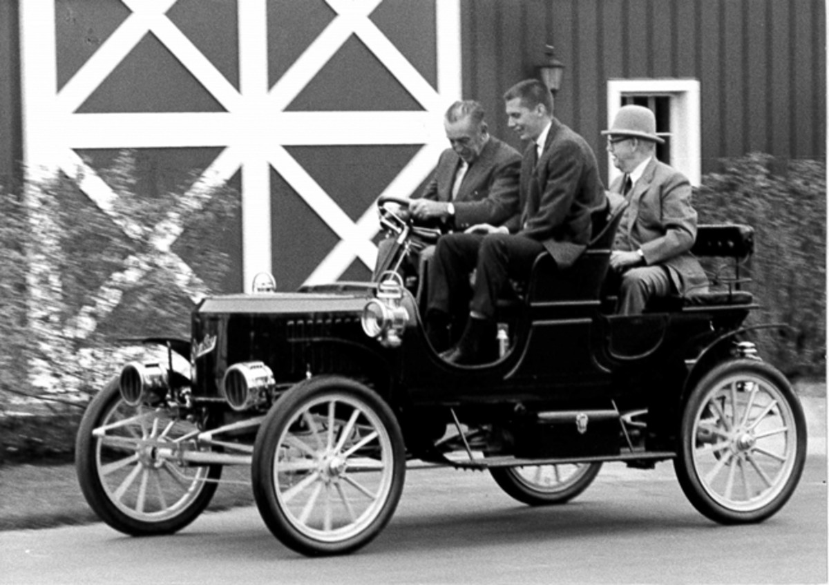 Walt Disney's local connection will be the topic of Disney historian and author, Christopher W. Tremblay during his presentation March 18 at the Gilmore Car Museum. This recently discovered photo shows Disney driving a 1908 Stanley Steam Runabout on the campus of the Gilmore Car Museum in September 1964. Personal friend and museum founder Donald Gilmore is in the back seat with early museum staffer Bucky Boudeman next to Disney.
