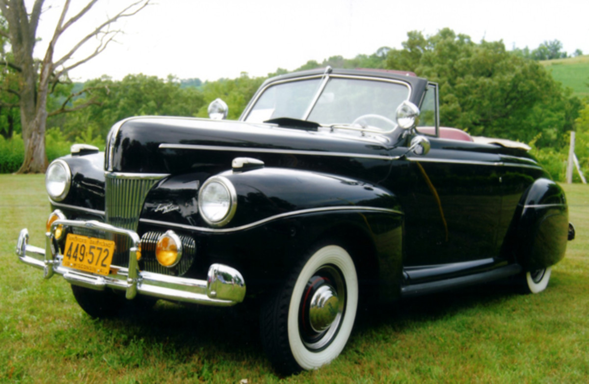 The '41 Ford was six inches longer than the 1940 model. The '41 handled better and rode smoother than any Ford before it. Ron Dewoskin, the current owner of this car, added the fender skirts and dual exhaust system to make the Ford look like his high school dream car.