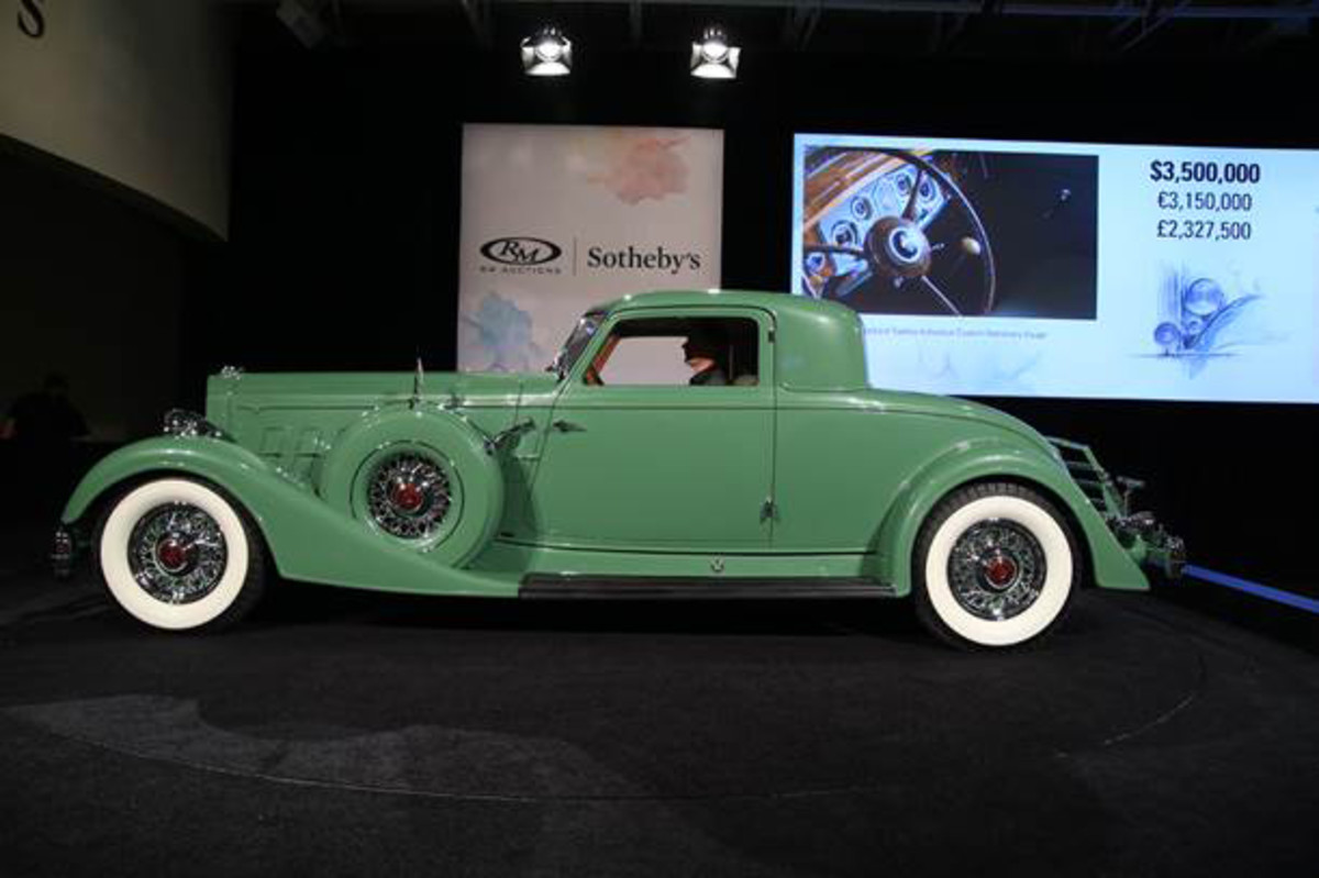 Bidding in progess on the 1934 Packard Twelve Individual Custom Stationary Coupe; it reached a final price of $4,180,000 to establish a new record as the most valuable Packard ever sold at auction (credit: Ben Majors © 2015 courtesy RM Sotheby's)