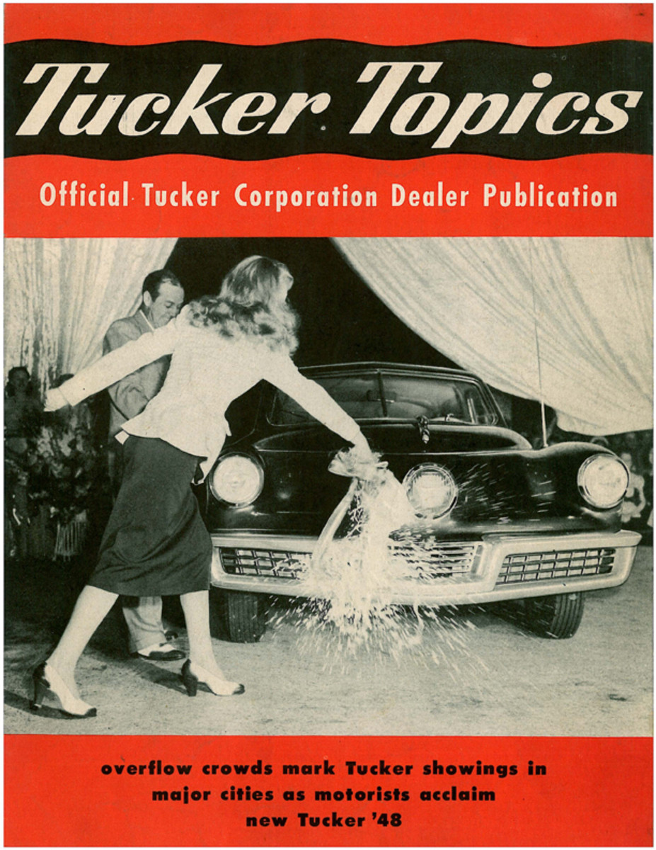 "June 19, 1947: A cover of TUCKER TOPICS, the Tucker Corporation newsletter showcasing Marilyn Lee christening the Tucker ""Tin Goose"" before a crowd of 5,000 at Tucker's Chicago factory on Cicero Ave."