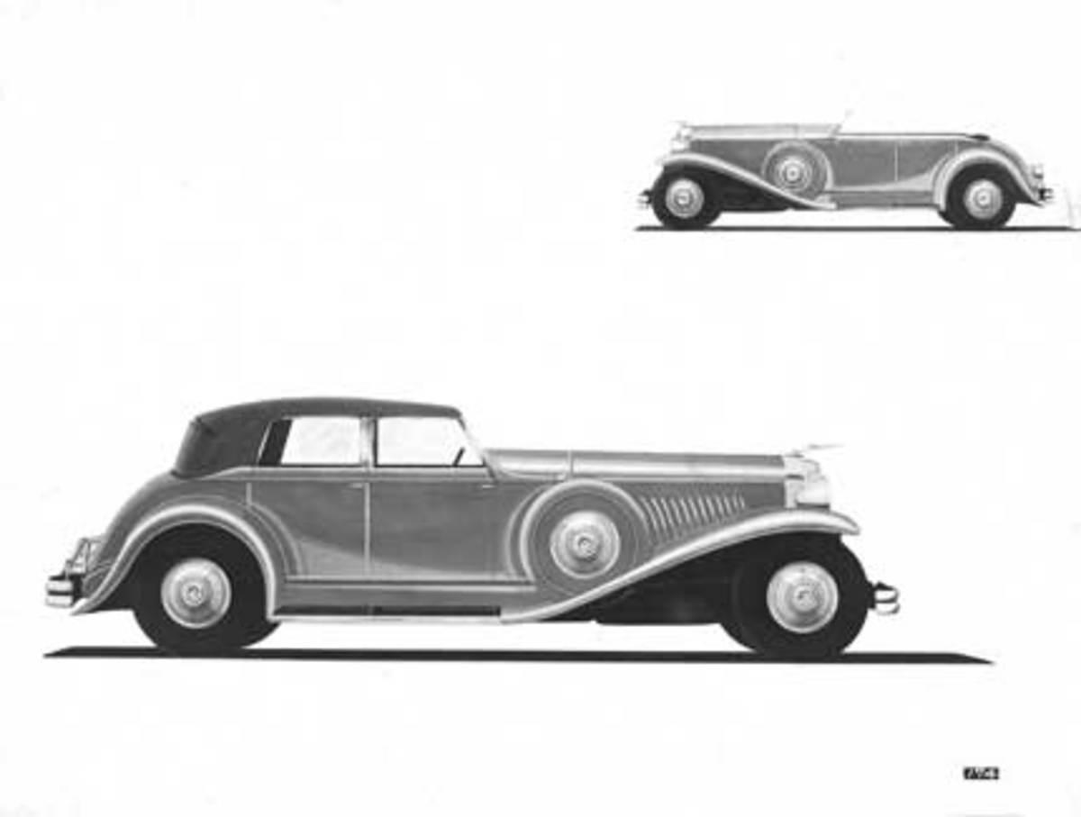 Duesenberg SJ line drawing