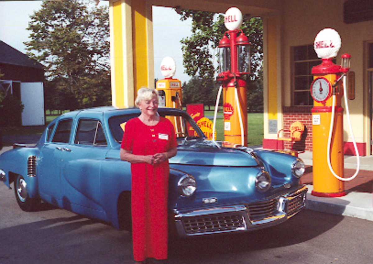 Marilyn Lee Tucker McAndrew standing (in 2000) next to an example of her father's creation, a 1948 Tucker Sedan. This example was the 47th of 50 cars produced and is owned to the Gilmore Car Museum near Kalamazoo, Mich.
