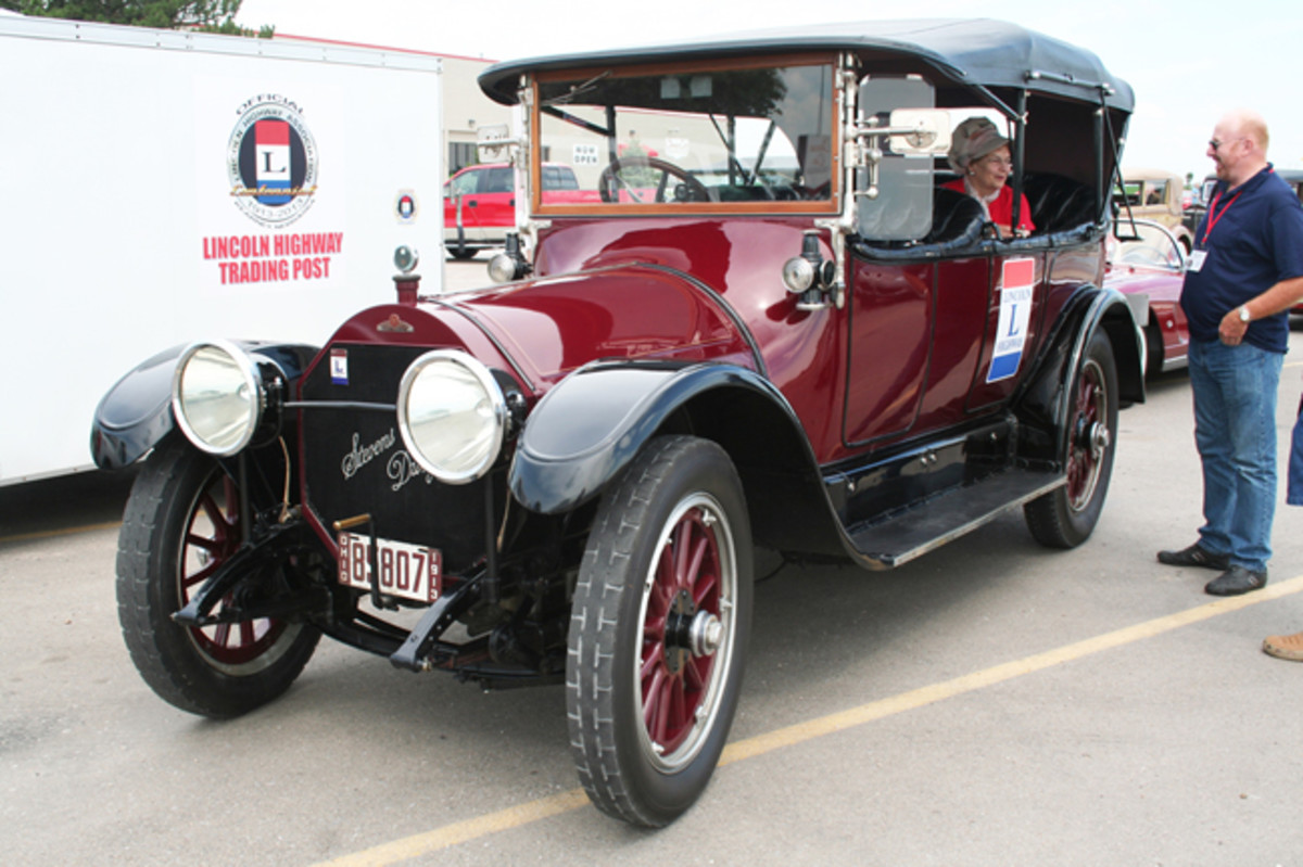 The Lincoln Highway runs through Mansfield, Ohio, where Richard and Mary Lou Taylor live. As the tour came through, they joined and drove the rest of the way in their 100-year-old 1913 Stevens Duryea touring car.