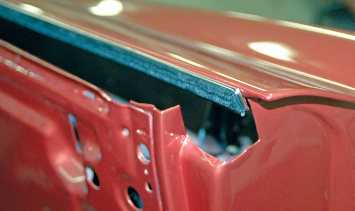 The correct-type window sweeps are shown installed on the doors using the correct rear-mounted clips, rather than ugly and incorrect rivets that could scratch the glass as it passes.