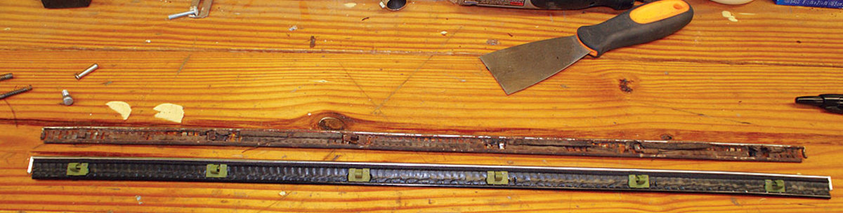 The original window sweep was saved so it could be replicated. Note the original-type clips, which are new-old-stock units obtained from a marque-specific part vendor.