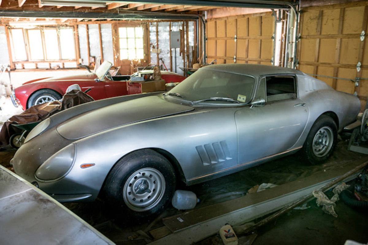 The garage where the 1966 Ferrari 275 GTB Long Nose Alloy (foreground) and the 1967 Shelby 427 Cobra (background) were discovered. Image copyright and courtesy of Hagerty. Image by Jordan Lewis.