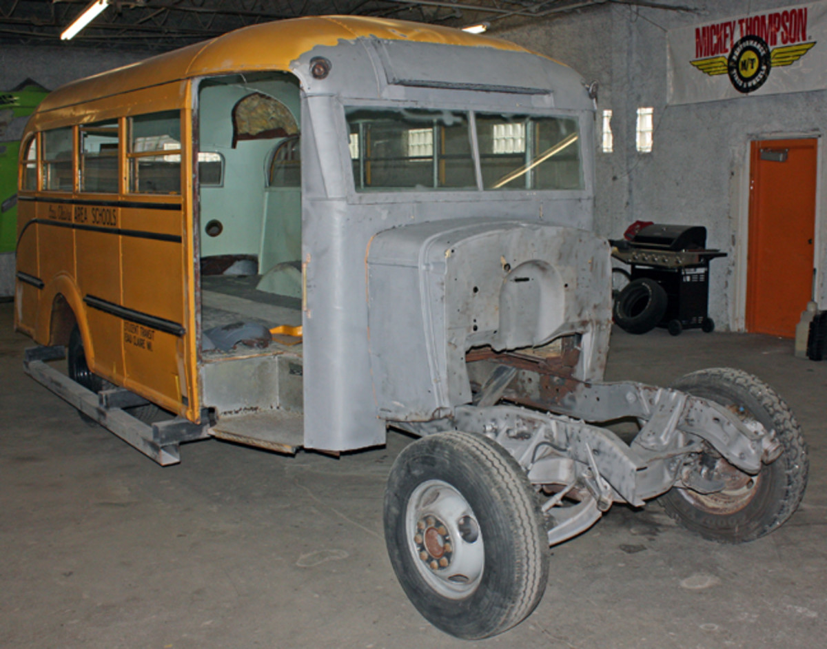 This 1937 Chevrolet school bus was ticketed for a complete restoration at Fast Freddie's Rod shop in Eau Claire, Wis. Long before it would be ready for any passengers, the bus would need some extensive rust repair.