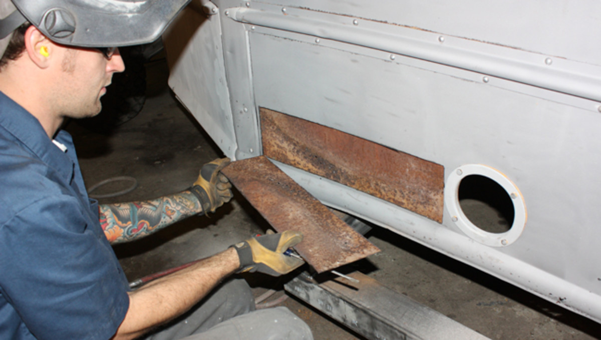 The bus also has an inside metal skirt that will be cut away with a Sawzall-type cutting tool.