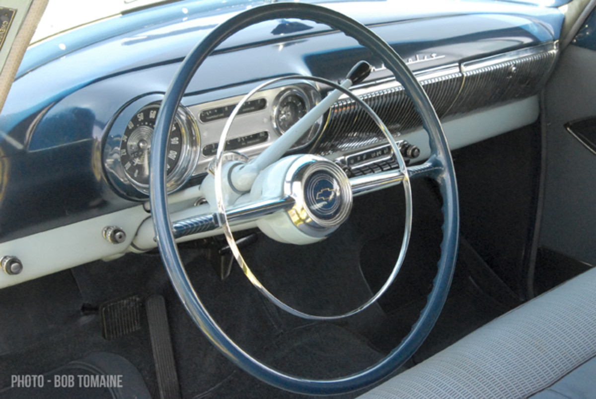 """Advertising called attention to the Bel Air dashboard's """"rich gleam of heavy chrome."""""""