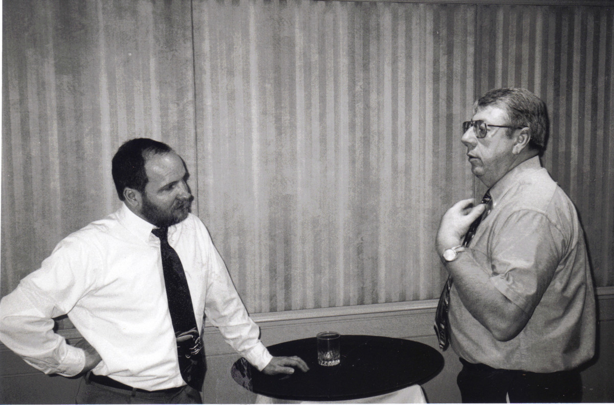 West Peterson, current the editor of Antique Automobile magazine, had a serious discussion with Bob Stevens (right) during the Meguiar's Award voting in this photo from the late 1990s.
