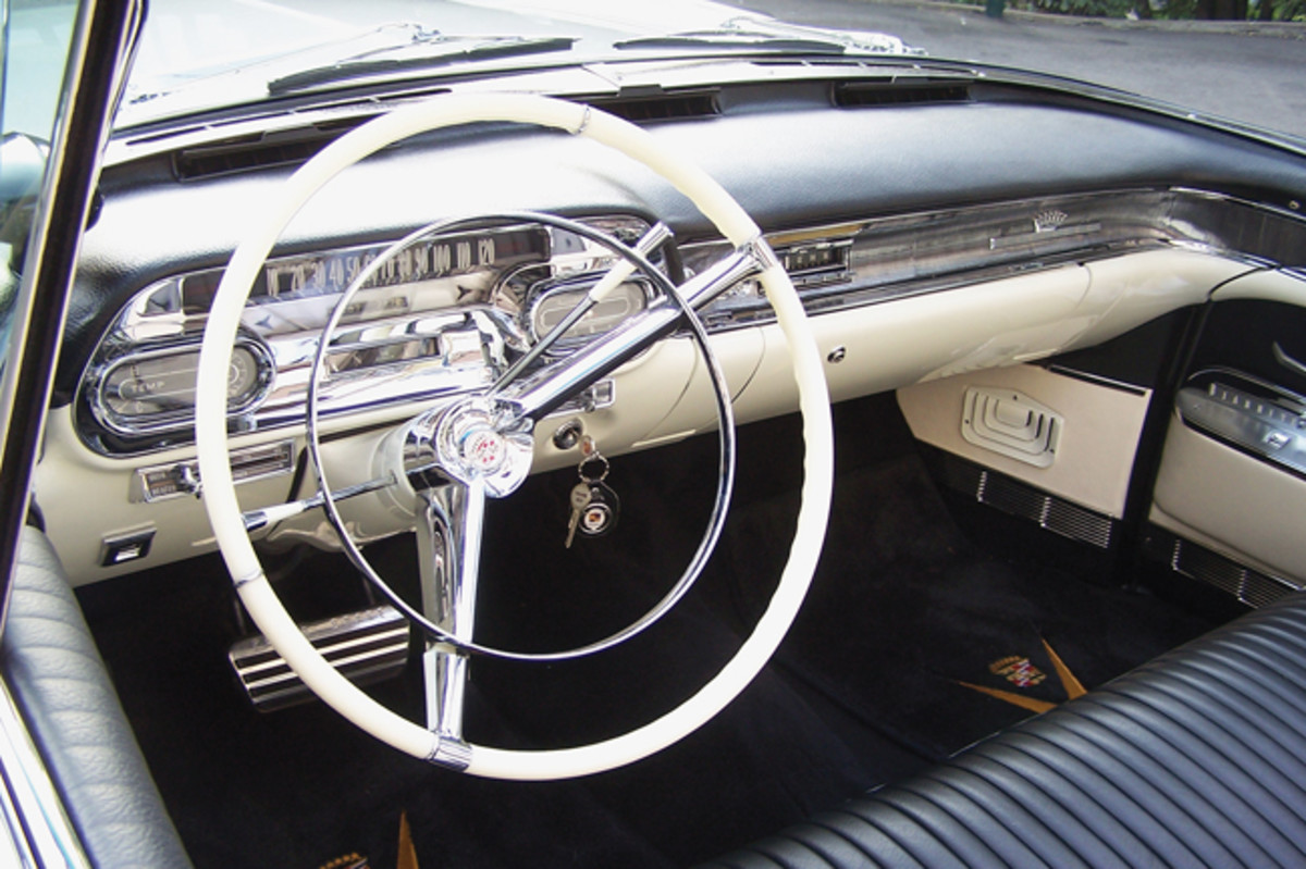 There's a lot of parts to chrome on a 1958 Cadillac, and all of this Cadillac's bits went to the plater, even those in the interior. The upholstery is new and in the correct black-and-white leather material. The hardest part to correctly restore was the steering wheel, which has a special texture at the 9 and 3 o'clock positions.