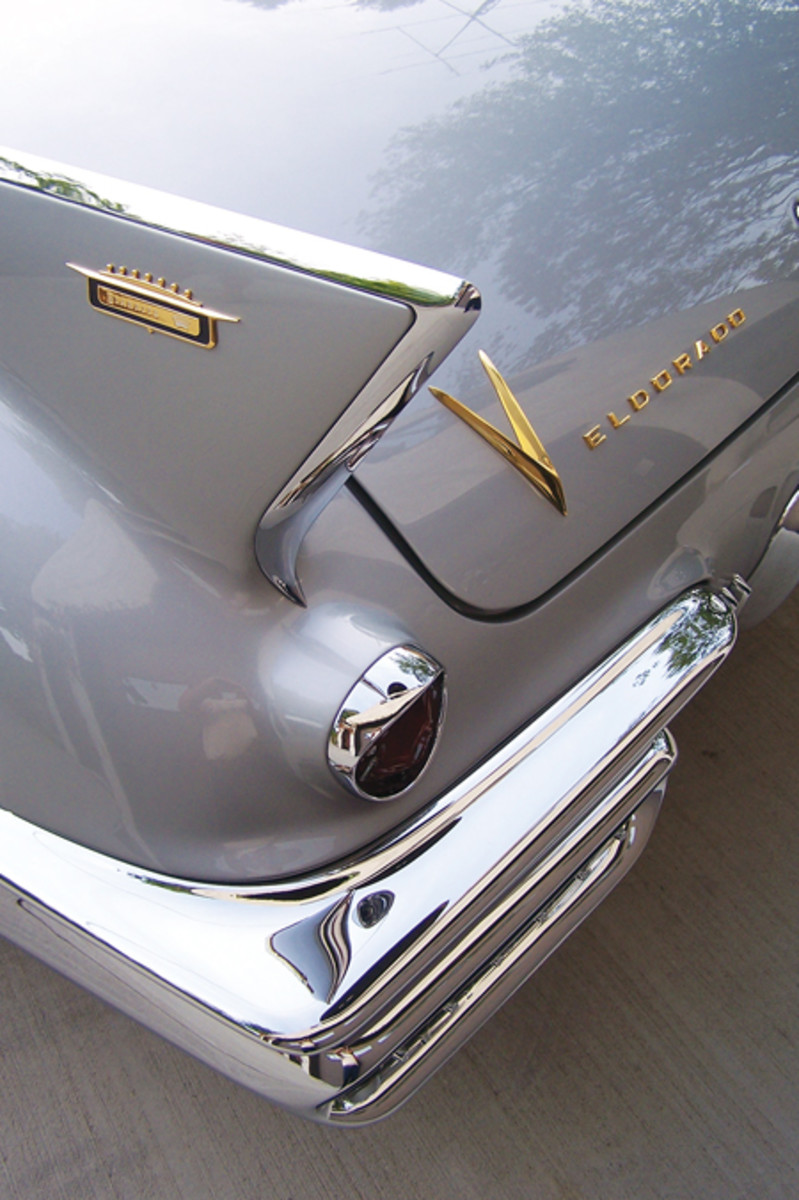 Like a sharks' dorsal fins rising out of the still water, the 1958 Cadillac Eldorado's aggressive tailfins cause people to stop and stare. These fins were exclusive to 1957 and 1958 Eldorado Seville (coupe) and Biarritz (convertible) models, but the crest at the tip of the fin and the bumper are exclusive to the more-trimmed 1958s. This fin belongs to Dr. Frederick Prehn's 1958 Cadillac Eldorado Biarritz, which recently underwent a two-year restoration completed for the 50th anniversary of the car and the Cadillac LaSalle Club.