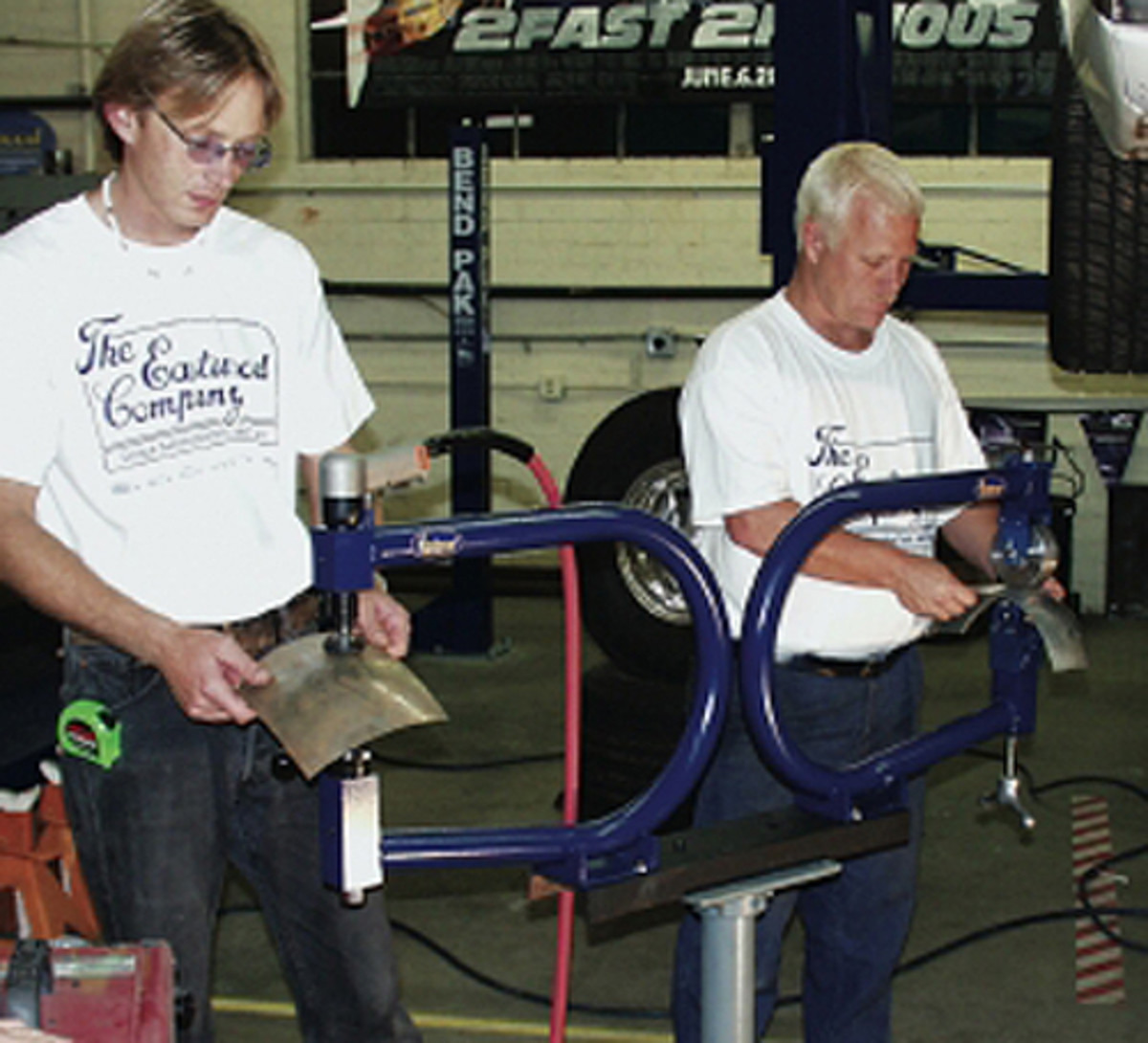 Planishing hammers and English wheels are metal working tools that are often confused with each other. The Eastwood Company builds English wheels and planishing hammers mounted on a universal tool stand.