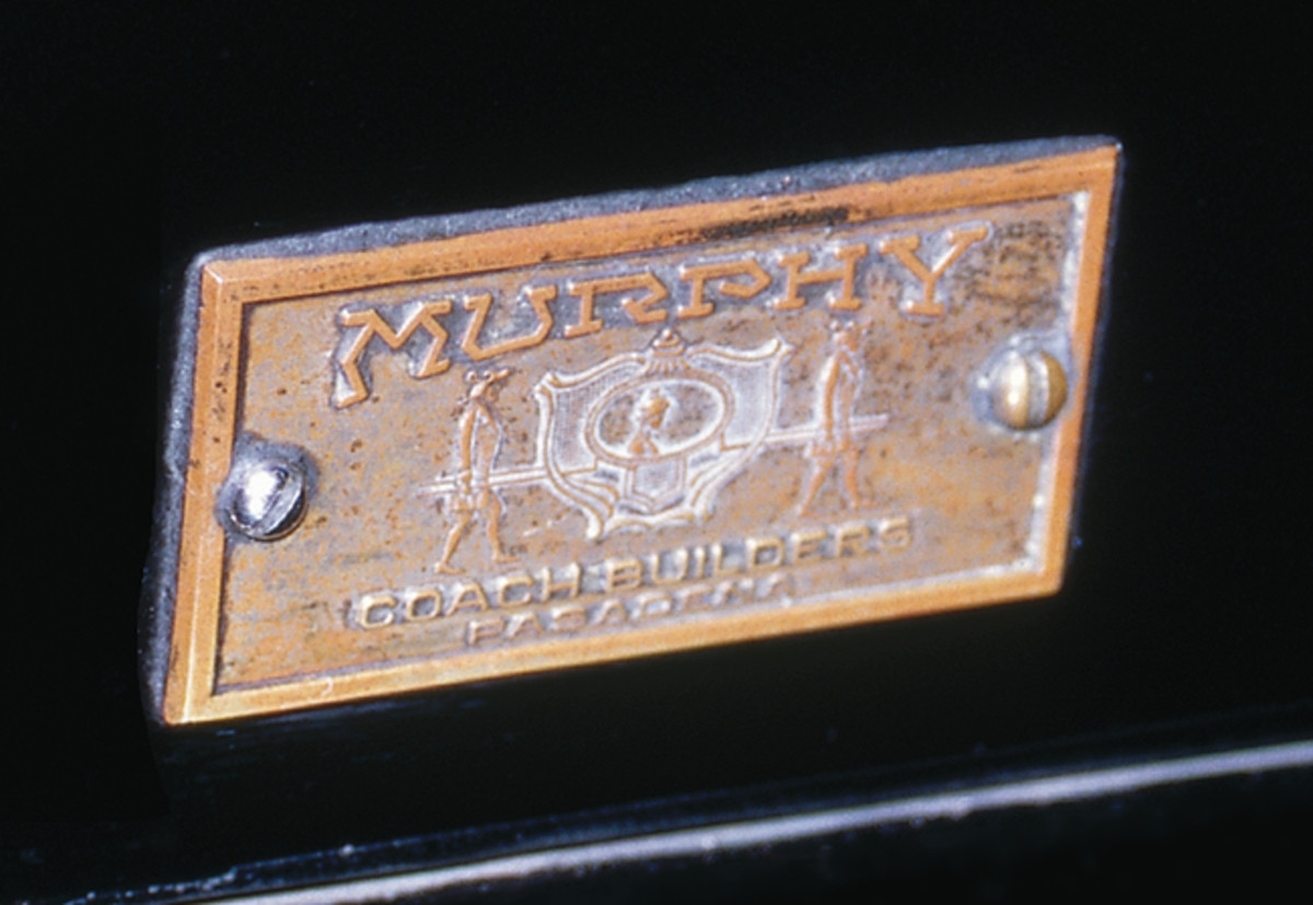 Among the most photographed features of this Duesenberg is its Murphy coachwork tag. Many restorers replace original coachwork tags that have patina with shiny reproduction tags to match their high-quality restorations. However, this 33,000-mile car is original, and so is the tag.