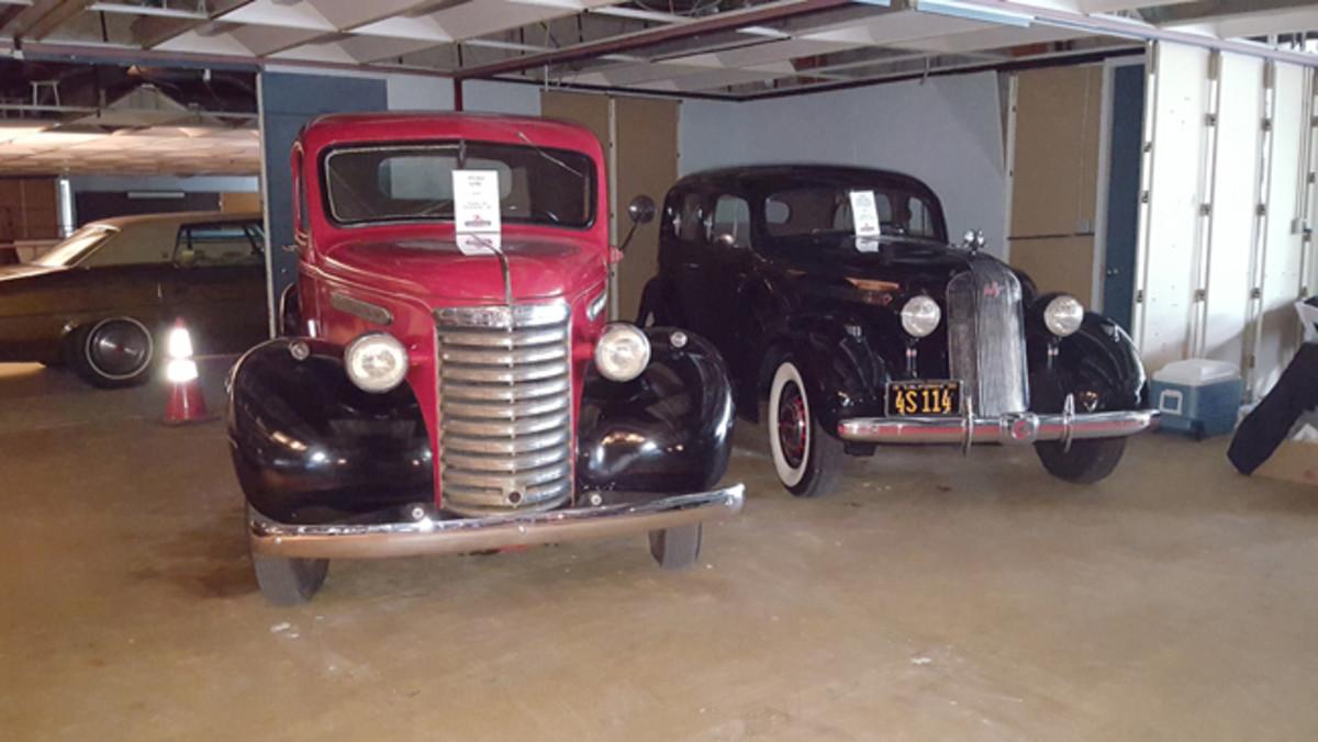 1940 GMC pickup and a 1935 Pontiac 8 cylinder 4- door sedan
