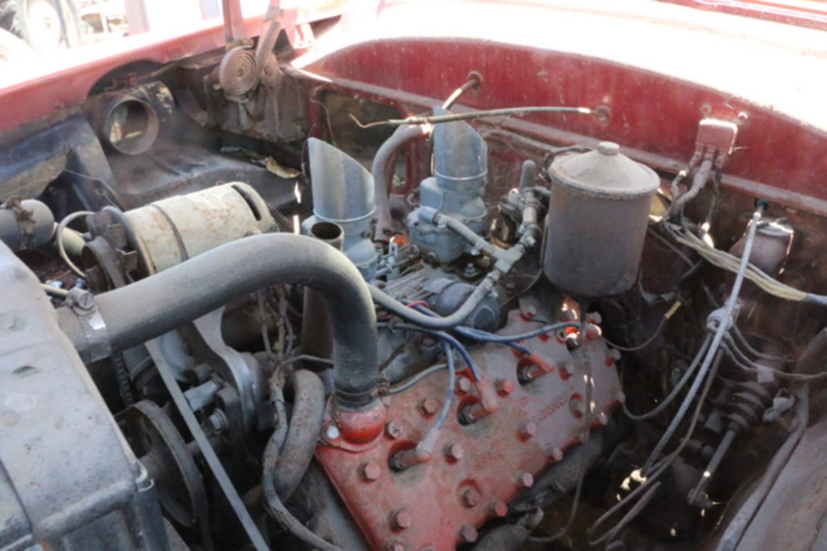 A look a the '53 Ford Crestline's flathead V-8 with dual carbs and intake manifold.