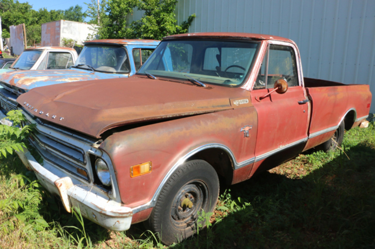 There are over a dozen Chevy pickups available, ranging from 1960 to the early 1970s, including this '68 long-wheelbase 1/2-ton with a six-cylinder engine.