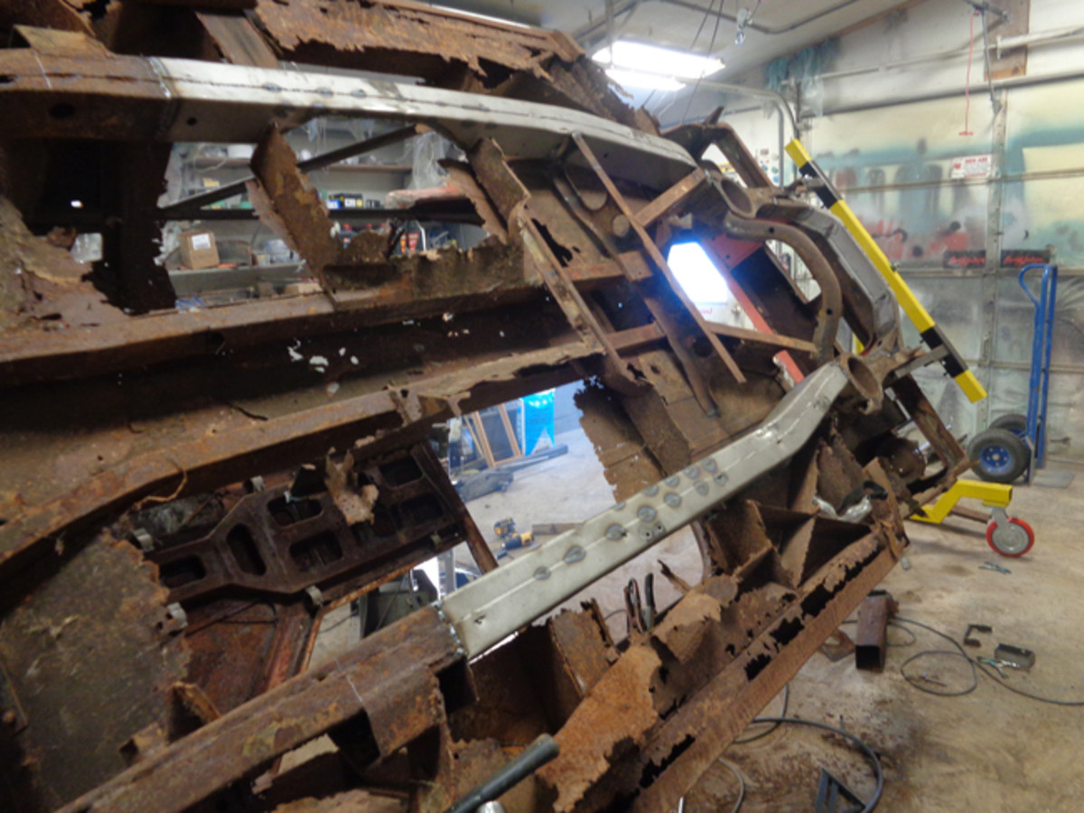 """The donor frame rails are welded into place. I chamfered the edges of the old and new in the thickness of the steel and filled the """"V"""" with weld, ground the welds flat and then added boiler plates over the seams for added strength."""