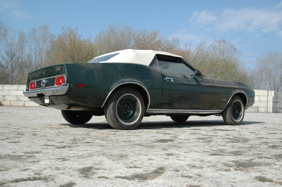 A rear view of the Mustang convertible. Note the original tires have been removed from car in these photos. They have been set aside for safe keeping (and safe driving).