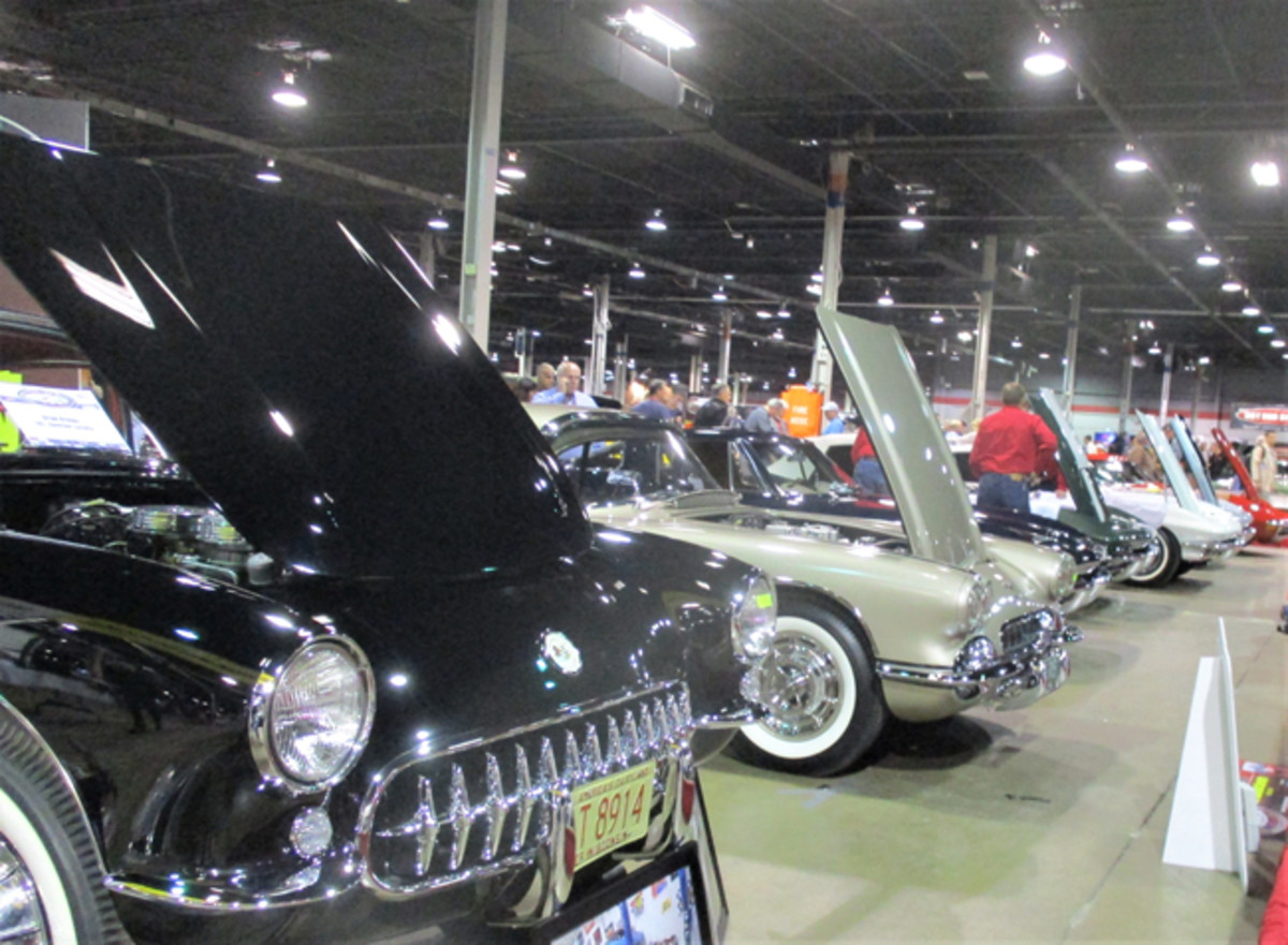 """You never know what crazy machines will show up at the Muscle Car and Corvette Nationals. Above: Four Buick """"nailhead"""" V-8s power this insane """"TV Tommy"""" Ivo dragster. Below: As usual, the show featured plenty of classic Corvettes."""