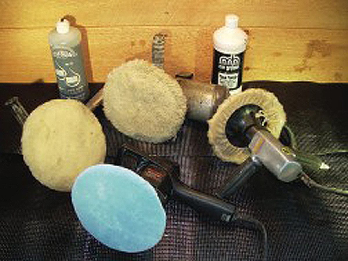 This equipment buffs and polishes finishes. It can be used to bring out the best in the paint that you spray, or on old finishes, but there are limits to what you can do with buffing and polishing. The products in the background are for polishing fresh paint without sealing it in ways that will interfere with its curing process.
