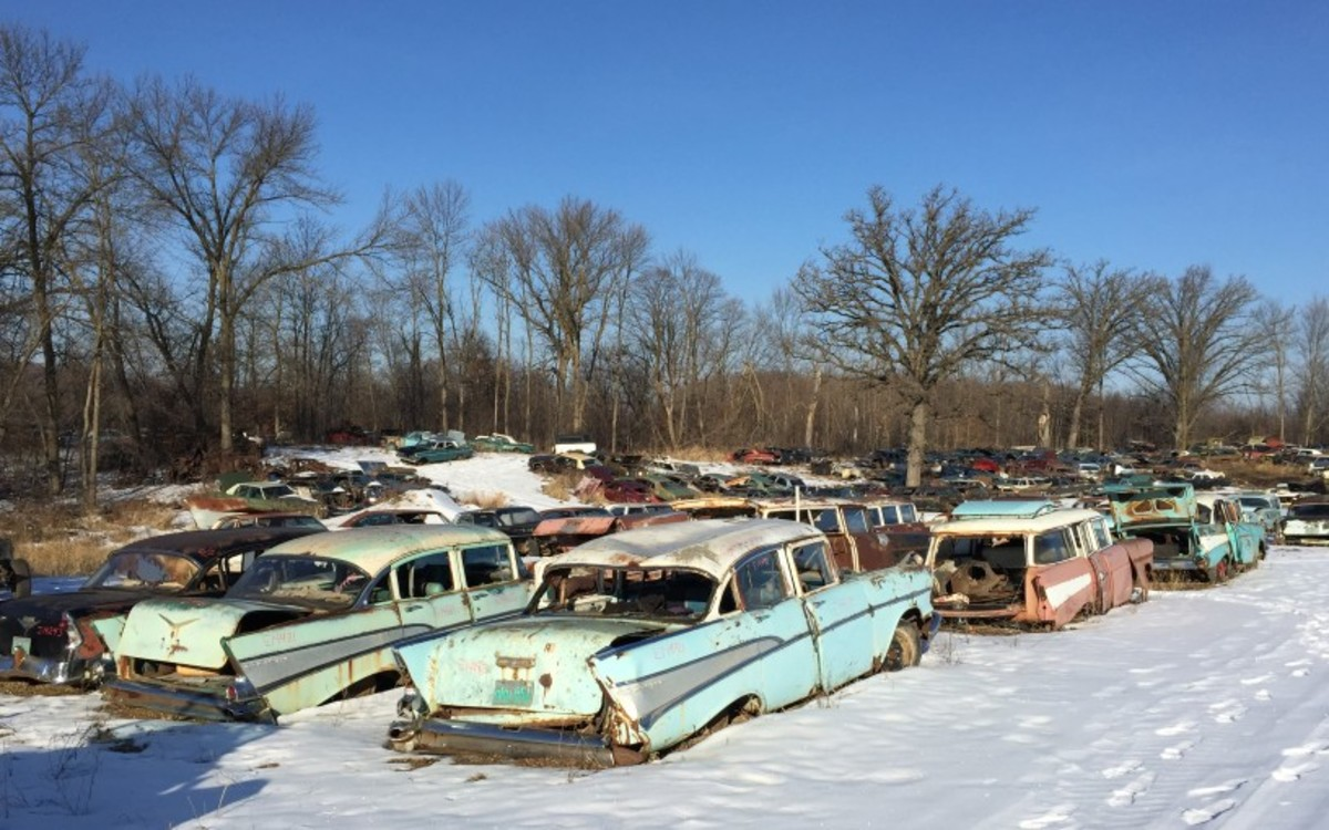 In fact, there are a lot of Tri-Five Chevrolet cars at French Lake Auto Parts, most of which are '57 wagons and sedans. The '56 One-Fifty sedan at far left is one of few '56s at FLAP, and this one packed a V-8, an unusual find in a base four-door sedan.