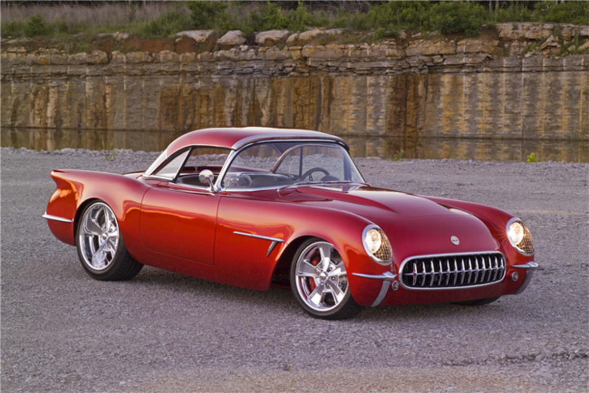 "Barrett-Jackson will offer this spectacular 1954 Corvette custom dubbed ""Transitions."" The car is a former Ridler Award winner built by Larry Griffey's Hot Rods and Restoration. Photo - Barrett-Jackson"