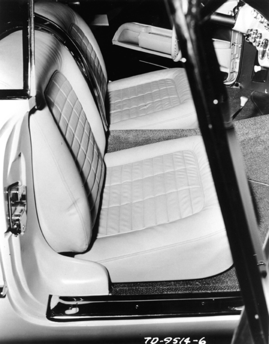 The 265 small-block was released by Chevrolet for 1955. The upholstery pattern was sewn to match that of the original Corvair. (GM Media Archive photo)