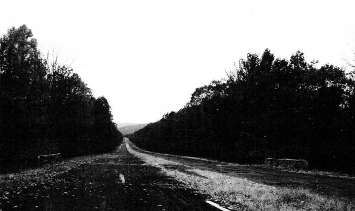 Abandoned section of Pennsylvania turnpike between Ray's Hill and Sideling Hill, east of Breezewood. Bypassed on November 26th, 1968.